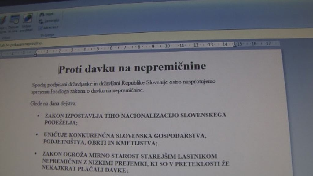 peticija proti davku na napremicnine