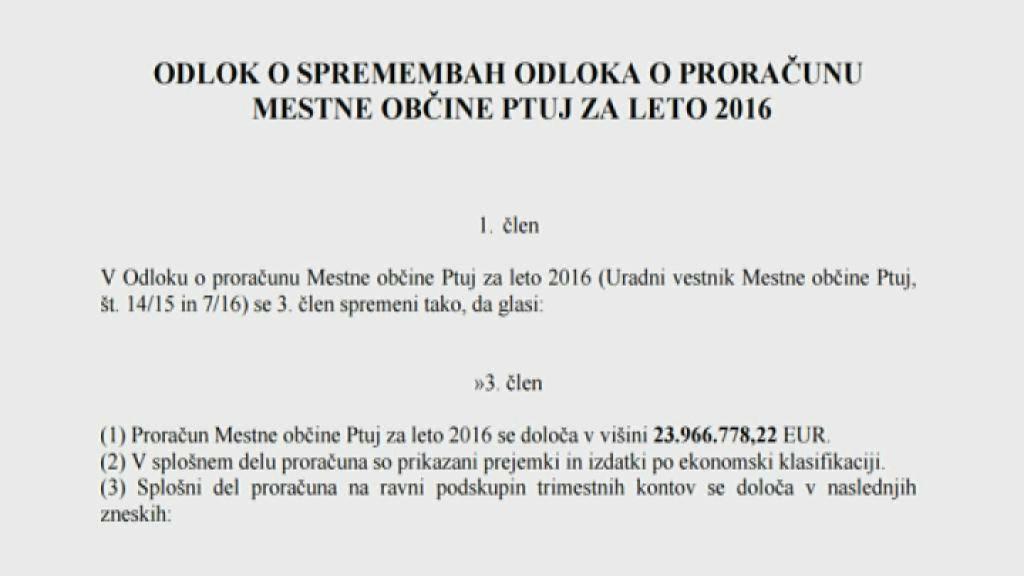 Rebalans v višini 23.9 MIO evrov