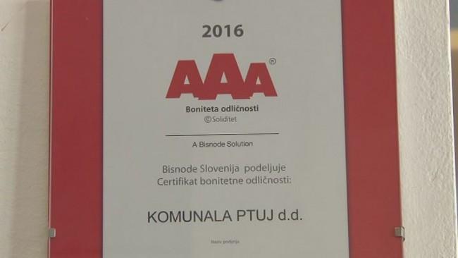 Komunalno podjetje Ptuj s certifikatom odličnosti