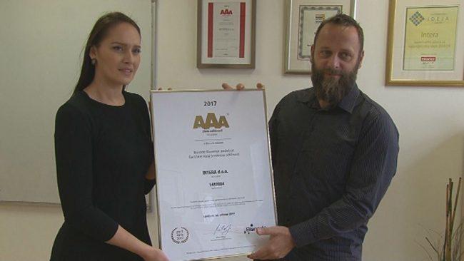 Intera prejela oznako zlate bonitetne odličnosti AAA