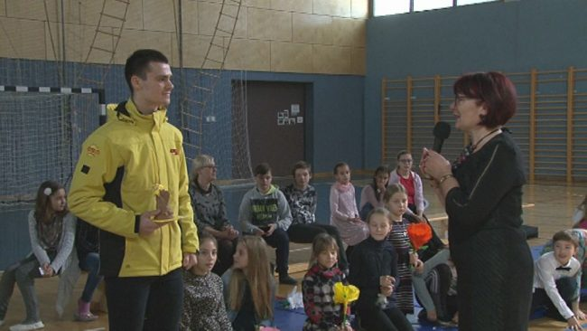 Tim Gajser na obisku na OŠ Ljudski vrt