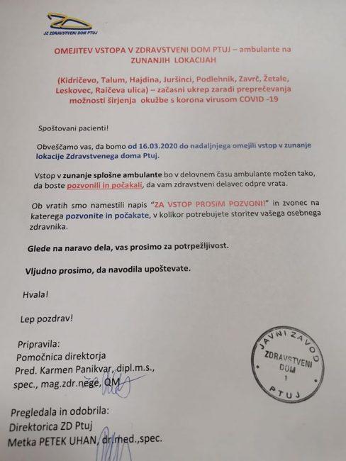 Zbir informacij in ukrepov proti širjenju koronavirusa (nedelja, 15.3.2020)