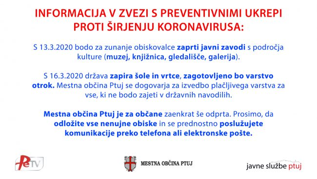 INFORMACIJE V ZVEZI S PREVENTIVNIMI UKREPI PROTI ŠIRJENJU KORONAVIRUSA (petek, 13.3.2020)