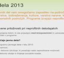 Novo javno povabilo za programe javnih del v letu 2013